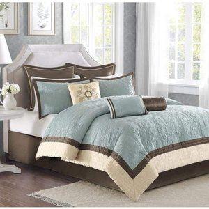 Madison Park Blue & Brown Queen Comforter Set